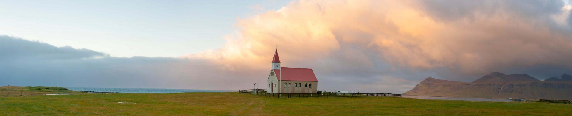 église paysage islande