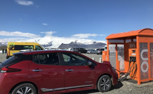Electric car at Jökulsárlón